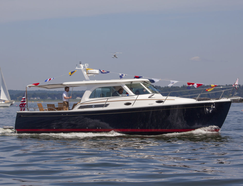 Back Cove Downeast 37 with Shade Launches at LobsterPalooza