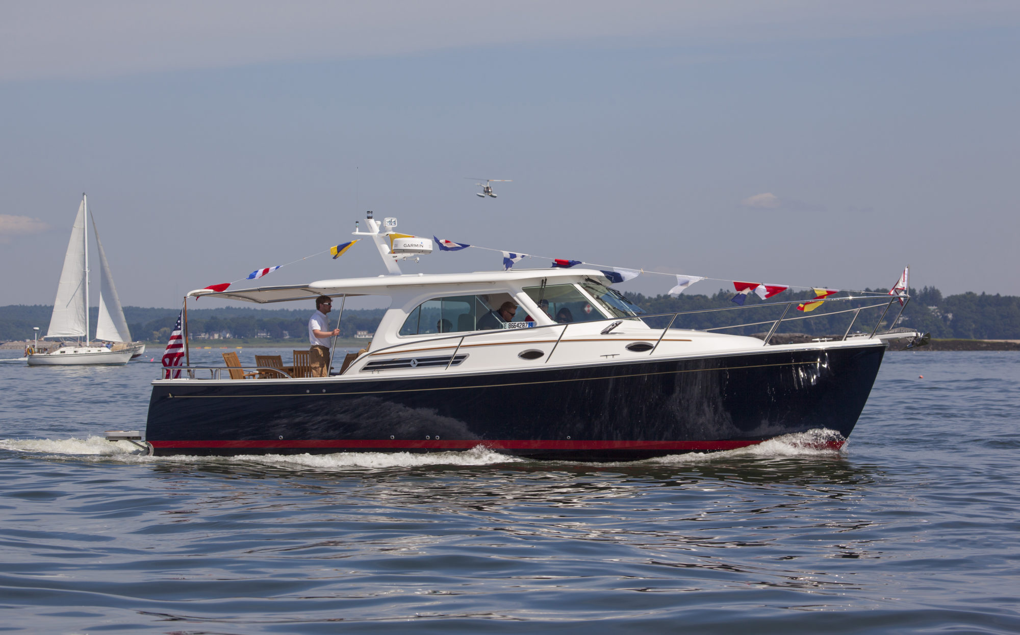Back Cove Downeast 37 with Shade Launches at LobsterPalooza | SureShade