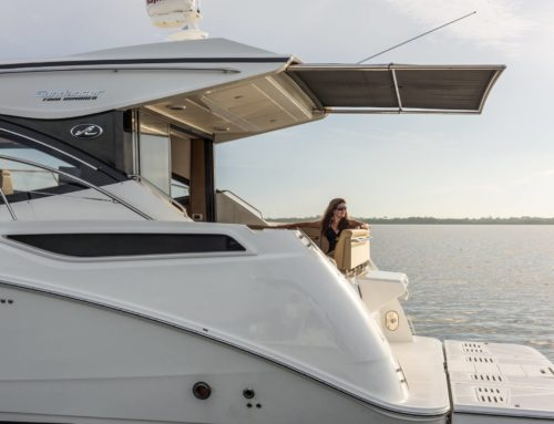 First Photos of New 2016 Sea Ray 400 Sundancer with Hardtop and Sunshade